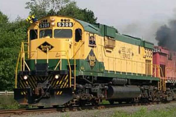 Yellow and Green Train Engine in Reading, PA