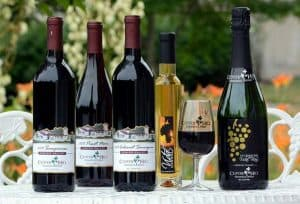 Wine line up at Clover Hill Vineyards and Winery