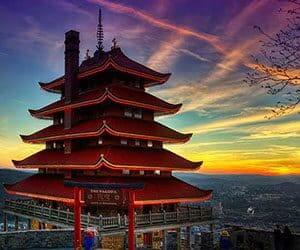 The Reading Pagoda surrounded by a beautiful sunset atop of Mount Penn in Reading, Berks County, PA