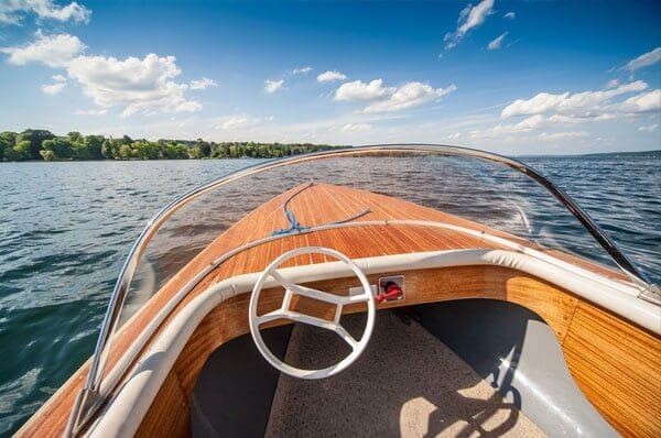 Cruising boat on lake in Reading, PA.
