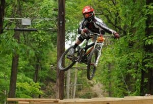 Bicycling in Pennsylvania's Americana Region, mountain biker at Duryea Downhill Race