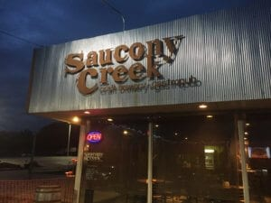 The front facade of Saucony Creek Brewery in Kutztown. The brewery is housed in a former Chevy dealership.