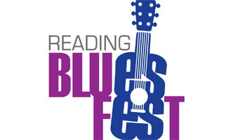 The words Reading Blues Fest on a white background form the logo for the event. The words are stacked. The ES in Blues and Fest are the color blue and form the base of a guitar.