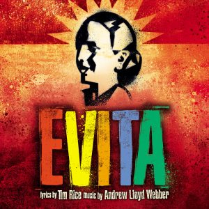 A poster for the musical Evita features a drawn profile of Evita in black with a star-like crown set against an orange-red background. The word Evita - all uppercase letters in primary colors, is below the drawn picture of Evita. Lyrics by Tim Rice, Produced by Andrew Lloyd Webber appears in white under EVITA.