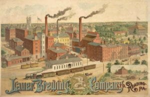 A color drawing of the beer brewing factory of Frederich Laurer.