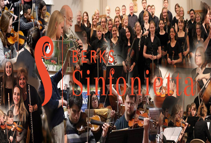 Collage of symphony players with violins, flutes and other string instruments.
