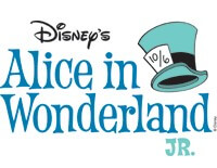 White background with a drawing of the Mad Hatter's hat, advertising Disney's Alice in Wonderland, Jr