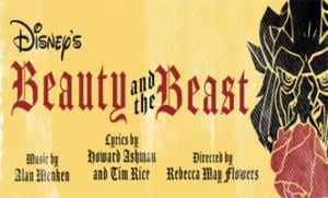 Illustrated sign for Disney's Beauty and the Beast.