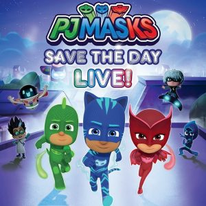A colorful illustration features The PJ Masks cartoon characters' live show.