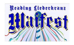 A white background with the word Maifest on it, advertises the annual May event at the Reading Liederkranz.