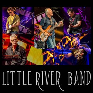 The various members of the Australian band, Little River Band are pictured against a black background.