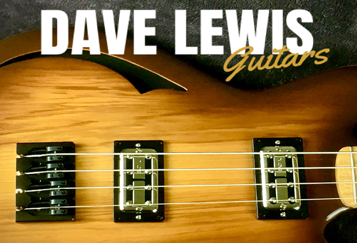 Dave Lewis guitars shows a beautiful rich guitar body with the strings attached