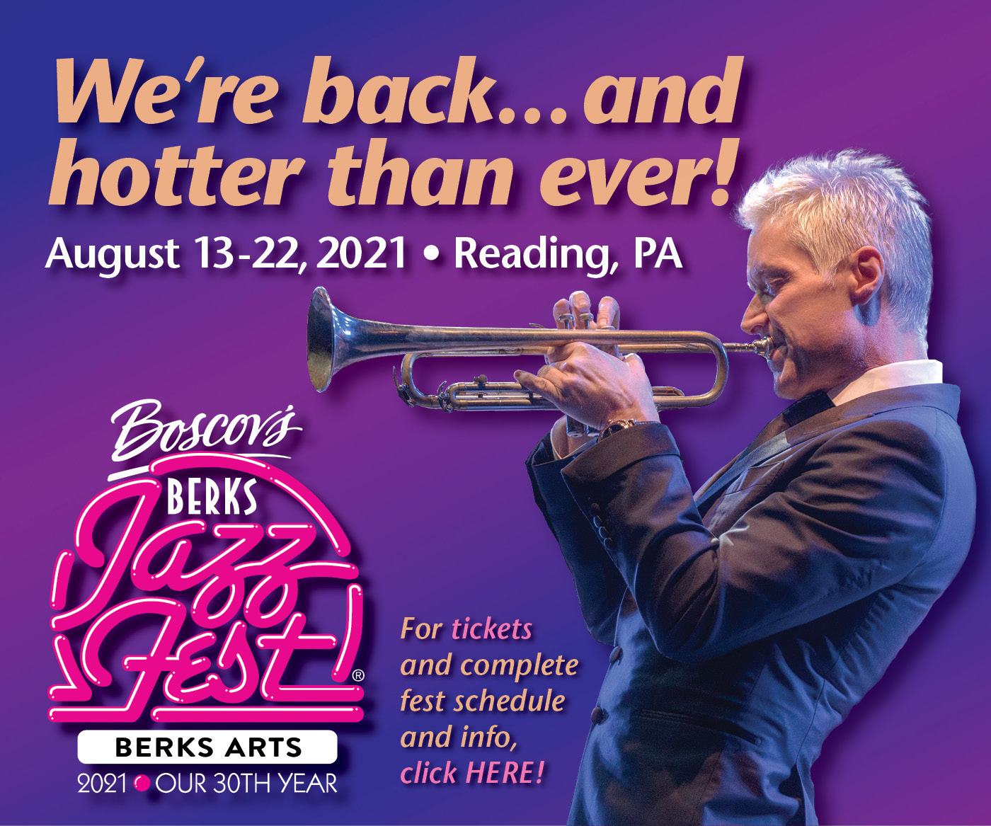 We're back... and hotter than ever! Berks JazzFest. August 13-22, 2021. Reading, PA. For tickets and complete fest schedule and info, click HERE!